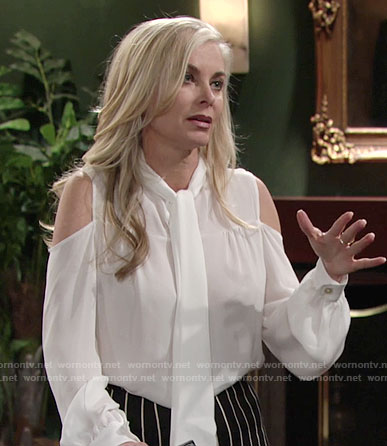 Ashley's white tie-neck cold-shoulder blouse on The Young and the Restless