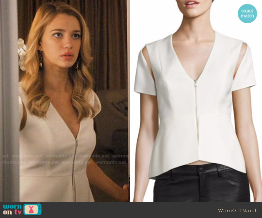 Bcbgmaxazria Cutout Peplum Top worn by Petra Solano (Yael Grobglas) on Jane the Virgin
