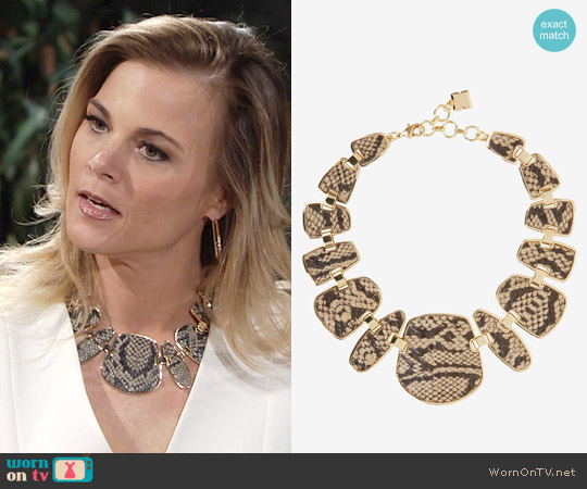 Bcbgmaxazria Snake Plated Necklace worn by Gina Tognoni on The Young & the Restless