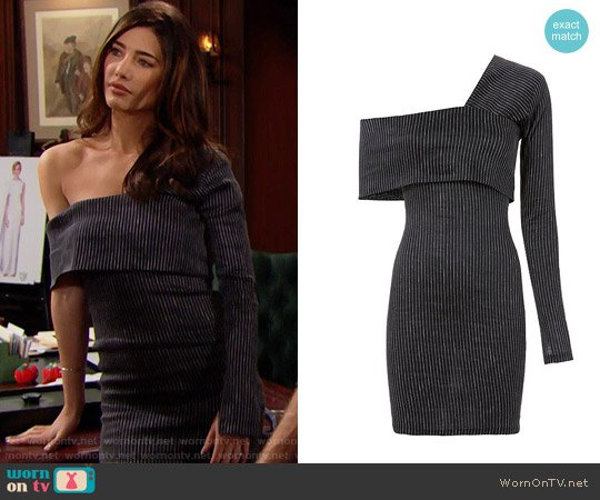 Beaufille Pinstripe One Shoulder Mini Dress worn by Steffy Forrester (Jacqueline MacInnes Wood) on The Bold & the Beautiful
