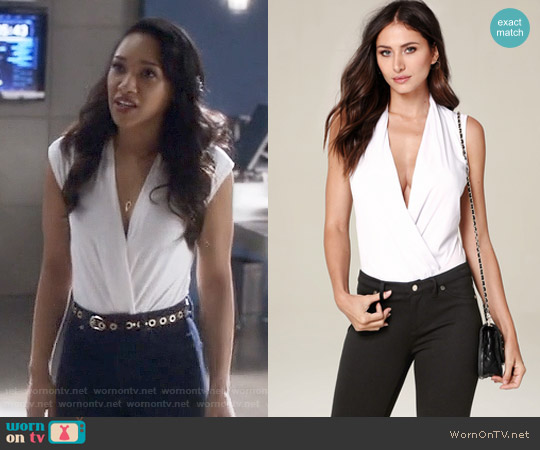 Bebe Sleeveless Wrap Bodysuit worn by Iris West (Candice Patton) on The Flash