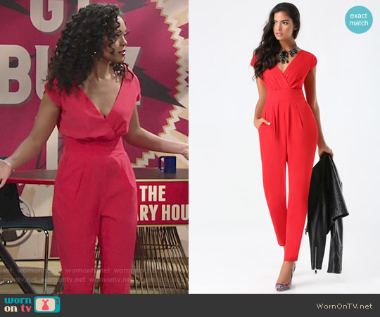 Bebe Emma Bow Crepe Jumpsuit worn by Mishael Morgan on The Young & the Restless