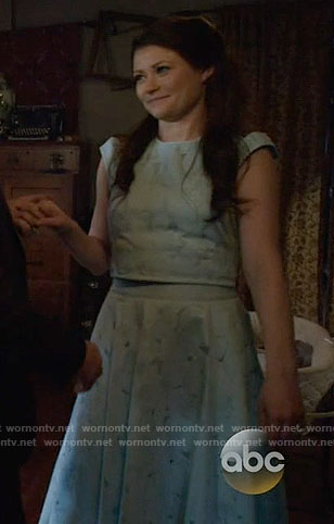 Belle's blue lace crop top and skirt on Once Upon a Time