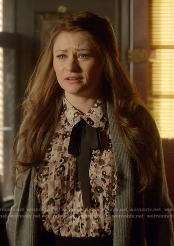 Belle's floral top with black neck tie on Once Upon a Time