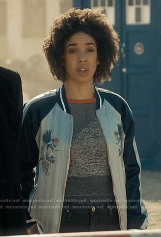 Bill's blue embroidered bomber jacket on Doctor Who