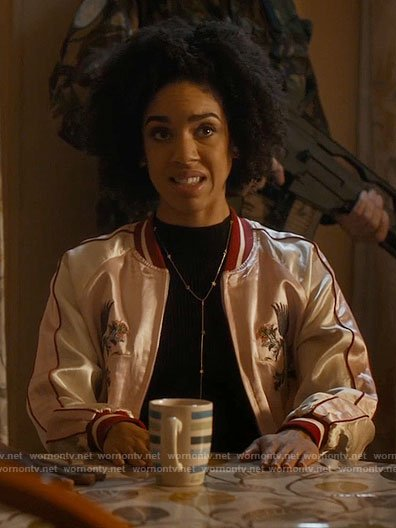 Bill's pink embroidered bomber jacket on Doctor Who
