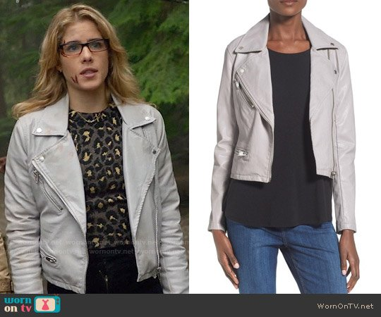 Blank NYC Faux Leather Moto Jacket worn by Felicity Smoak on Arrow