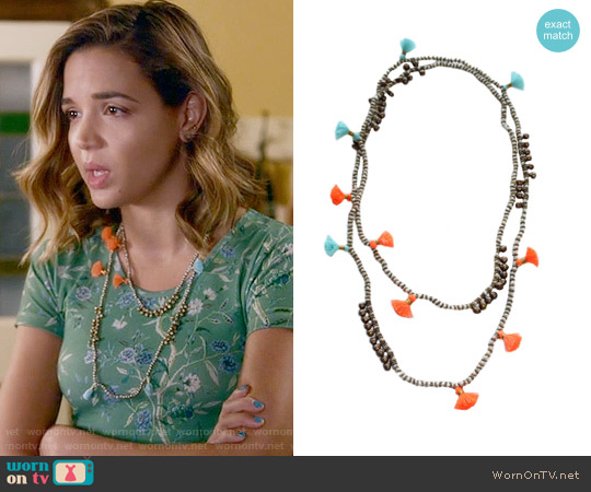 Bluma Project Farah Necklace in White/Sky/Orange worn by Cassandra on Famous in Love