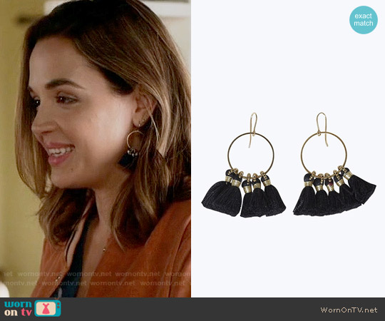 Bluma Project Shiloh Earrings in Black worn by Georgie Flores on Famous in Love