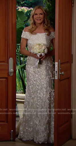 Brooke's off-shoulder wedding dress on The Bold and the Beautiful
