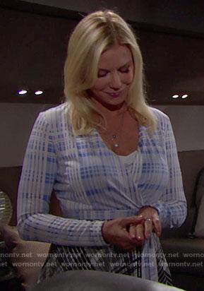 Brooke's blue plaid wrap dress on The Bold and the Beautiful