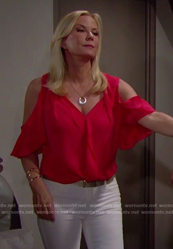 Brooke's red ruffled cold-shoulder blouse on The Bold and the Beautiful