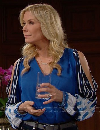 Brooke's blue blouse with printed sleeves on The Bold and the Beautiful