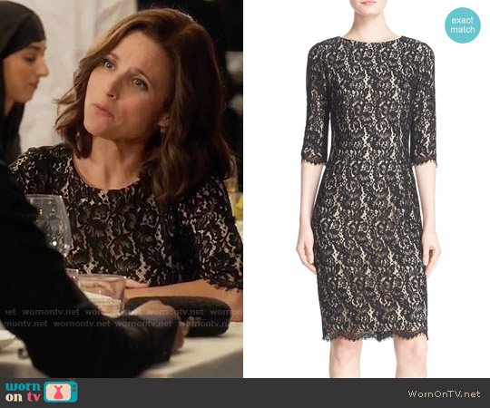 Carolina Herrera Lace Cocktail Dress worn by Julia Louis-Dreyfus on Veep