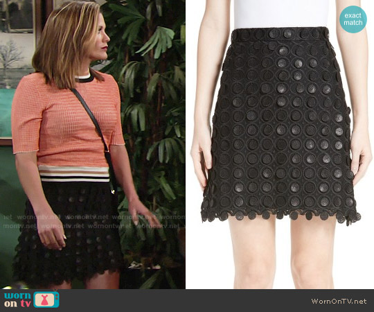 Carven 3D Embroidered Miniskirt worn by Chelsea Lawson on The Young & the Restless
