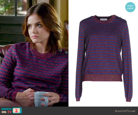 Carven Striped Sweater worn by Aria Montgomery (Lucy Hale) on PLL