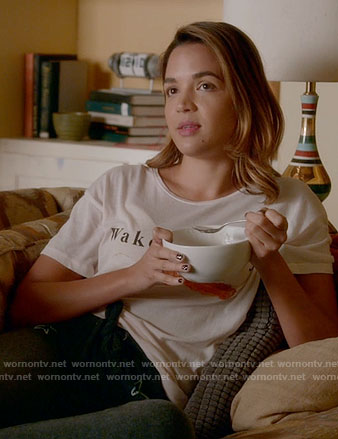 Cassie's Wakey Wakey tee on Famous in Love