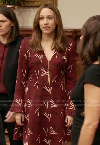 Catherine's red printed v-neck dress on Veep
