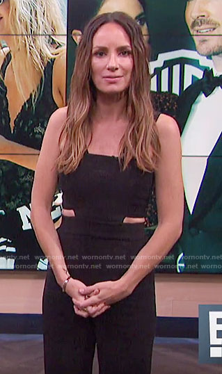 Catt's black jumpsuit with cutouts on E! News