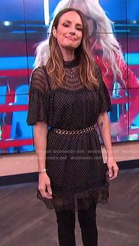 Catt's black dotted dress on E! News