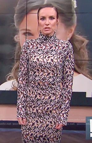 Catt's long sleeve lace crop top and skirt on E! News