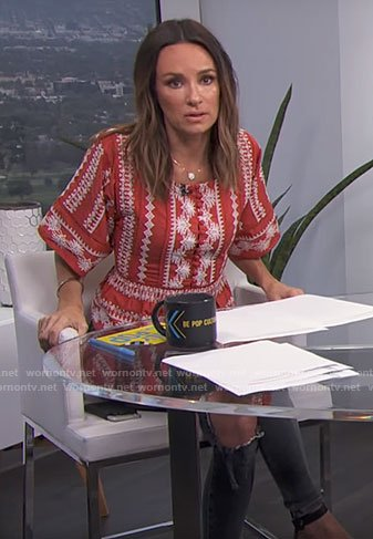 Catt's orange embroidered top on E! News Daily Pop