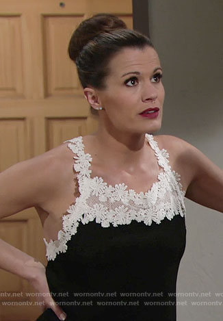 Chelsea's black top with white floral lace on The Young and the Restless