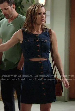 Chelsea's denim button-front dress with cutout on The Young and the Restless