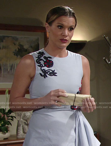 Chelsea's floral embroidered asymmetric peplum top on The Young and the Restless