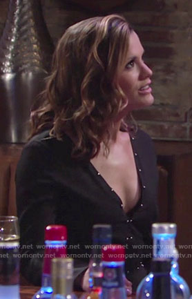 Chelsea's black studded v-neck romper on The Young and the Restless