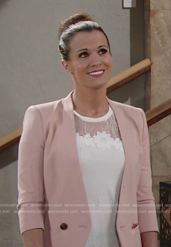 Chelsea's white floral lace top and blush blazer on The Young and the Restless