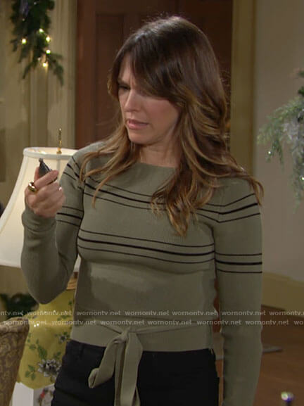 Chloe's green striped sweater with tie waist on The Young and the Restless