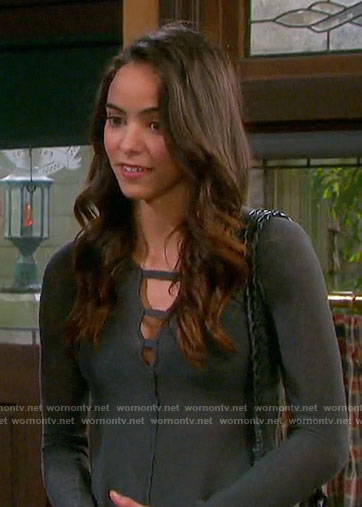 Ciara's long sleeve top with cutouts on Days of our Lives