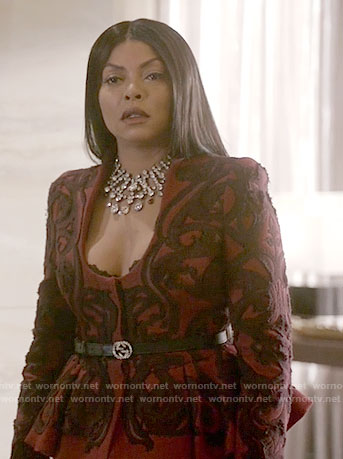 Cookie's red embroidered peplum jacket on Empire