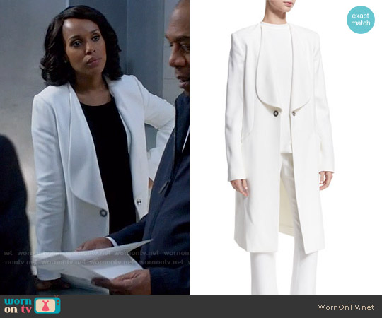 Cushnie et Ochs Shawl-Collar Long Coat worn by Olivia Pope (Kerry Washington) on Scandal