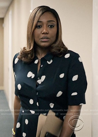 Daisy's polka dot shirtdress on Madam Secretary
