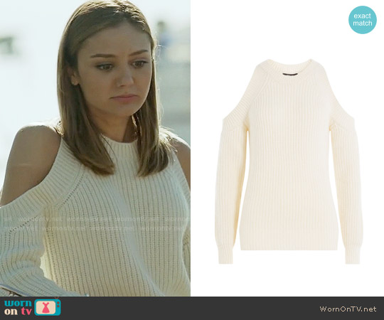 Derek Lam Virgin Wool Pullover with Cut-Out Shoulders worn by Christine Evangelista on The Arrangement