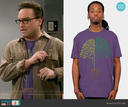 Design by Humans Tech Tree Shirt worn by Johnny Galecki on The Big Bang Theory