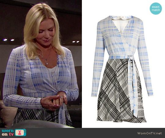 Diane von Furstenberg V-neck Contrast Skirt Wrap Dress worn by Brooke Logan (Katherine Kelly Lang) on The Bold & the Beautiful
