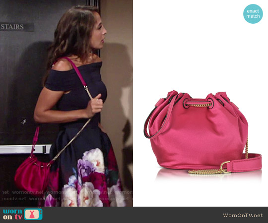 Diane von Furstenberg Love Power Satin Bucket Bag worn by Christel Khalil on The Young & the Restless