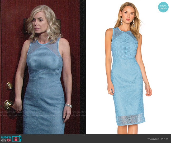 Diane von Furstenberg Mixed Lace Sheath Dress worn by Ashley Abbott (Eileen Davidson) on The Young & the Restless