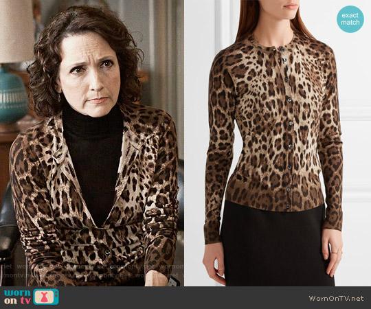 Dolce & Gabbana Leopard Print Cardigan worn by Bebe Neuwirth on Madam Secretary