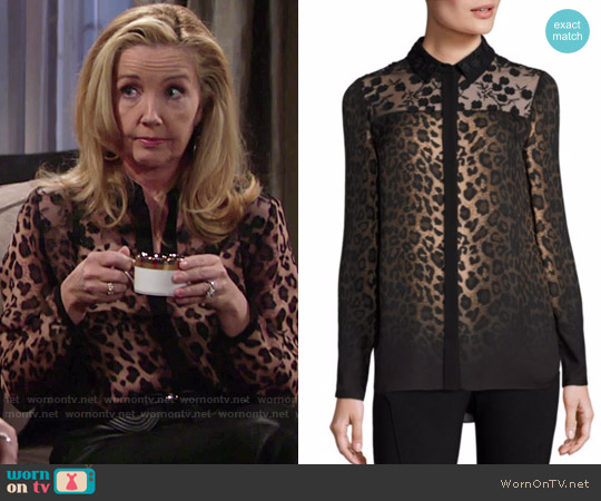 Elie Tahari Anderson Leopard-Print Silk Blouse worn by Nikki Reed Newman (Melody Thomas-Scott) on The Young & the Restless