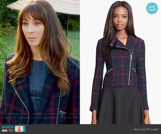 Elizabeth and James 'Patti' Plaid Quilted Moto Jacket worn by Spencer Hastings (Troian Bellisario) on PLL