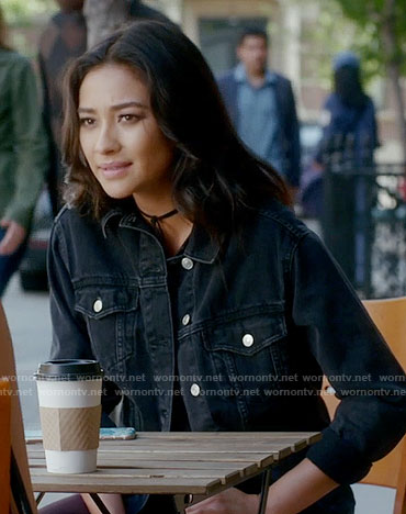 7f1b6e0143e5b Emily s black denim jacket on Pretty Little Liars