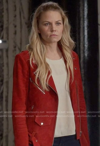 Emma's red suede moto jacket on Once Upon a Time