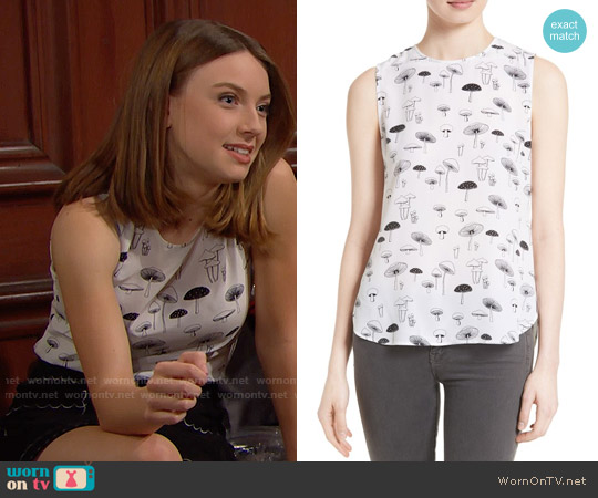 Equipment Lyle Mushroom Print Silk Top worn by Coco Spectra (Courtney Grosbeck) on The Bold & the Beautiful