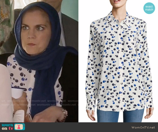 Equipment Reese Cherry Print Silk Shirt worn by Amy Brookheimer (Anna Chlumsky) on Veep