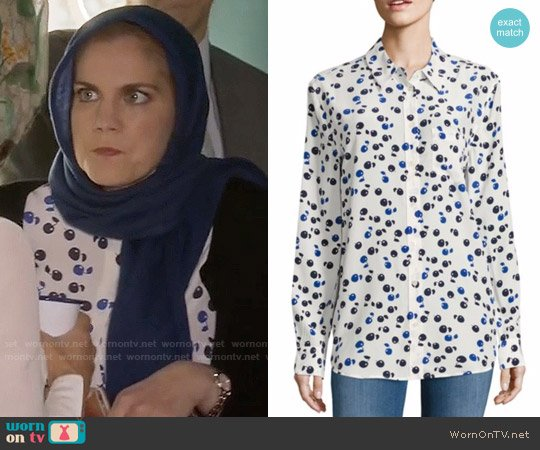 Equipment Reese Cherry Print Silk Shirt worn by Anna Chlumsky on Veep
