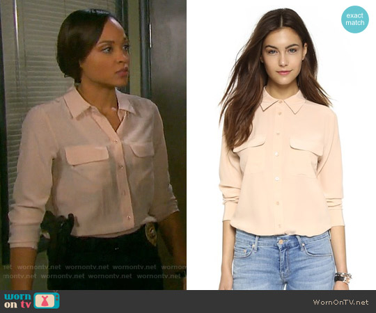 Equipment Slim Signature Blouse in Nude worn by Sal Stowers on Days of our Lives